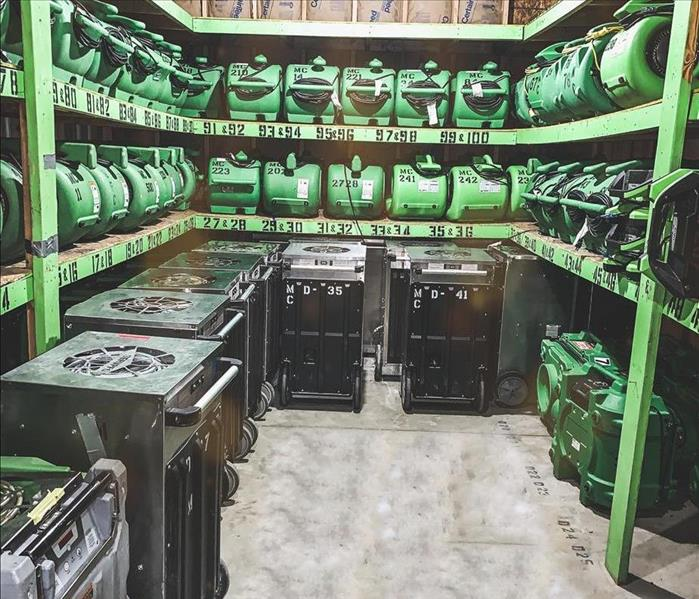 Room full of SERVPRO equipment