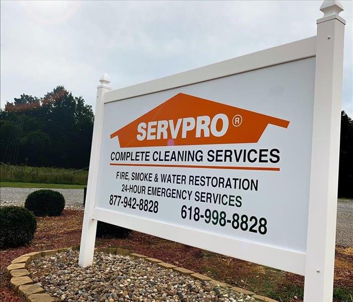 SERVPRO Sign with Phone Number and Other Information On it