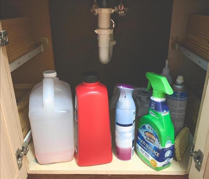 Cluttered cabinet below sink