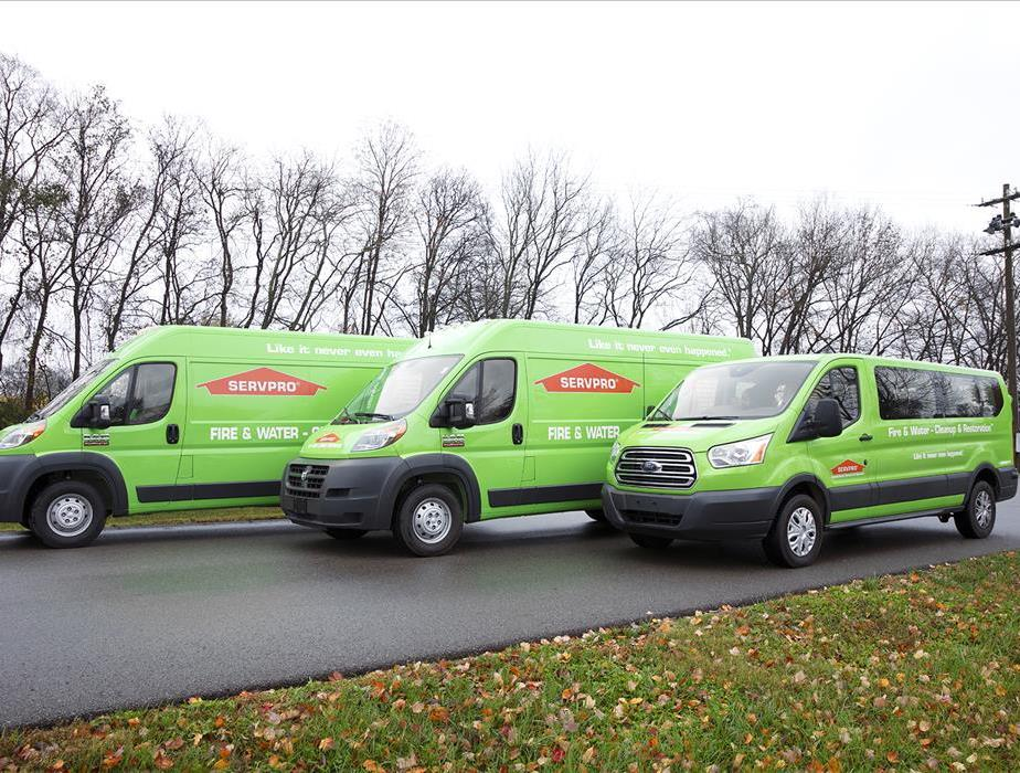 Three SERVPRO Vehicles in front of Trees